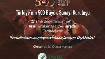 Türkiye'nin 500 Büyük Sanayi Kuruluşu Arasındayız